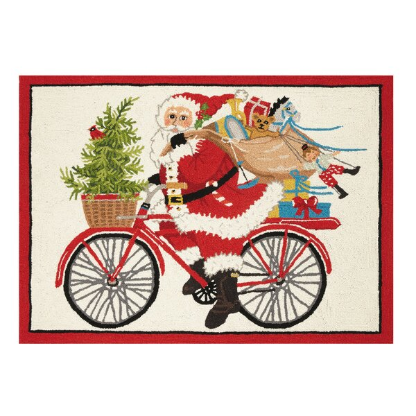 Cordova Santa on Bike With Presents Hand-Hooked Wool/Cotton Red/Beige Area Rug by The Holiday Aisle
