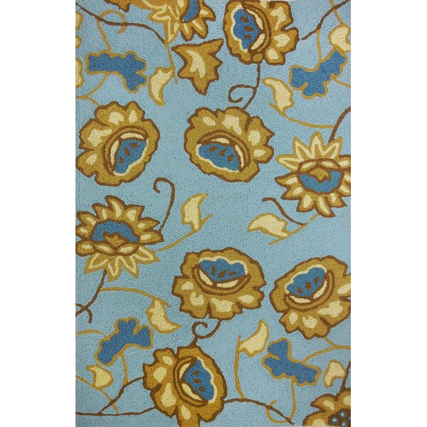 Isler Jacobean Floral Hand-Hooked Spa Blue Indoor/Outdoor Area Rug by Winston Porter