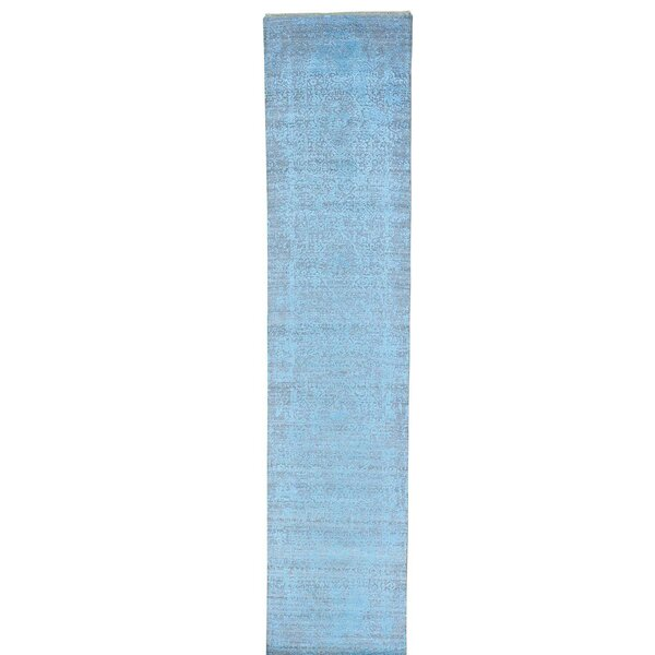 Broken Hand-Knotted Sky Blue Area Rug by Bloomsbury Market