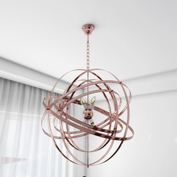 Edna 4-Light Unique / Statement Globe Chandelier by Mercer41 Mercer41