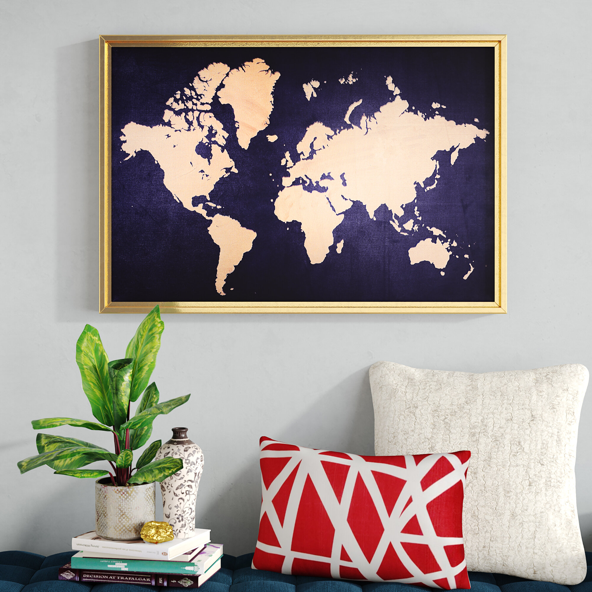 fa44782822d Ivy Bronx  Framed World Map  Rectangle Graphic Art Print on Canvas   Reviews