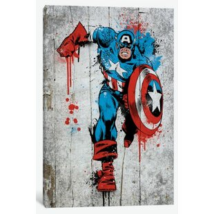Marvel Comic Book: Captain America Spray Paint Graphic Art On Canvas