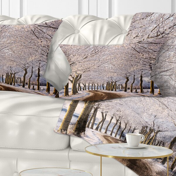 Landscape Printed Trees and Road in Winter Lumbar Pillow by East Urban Home