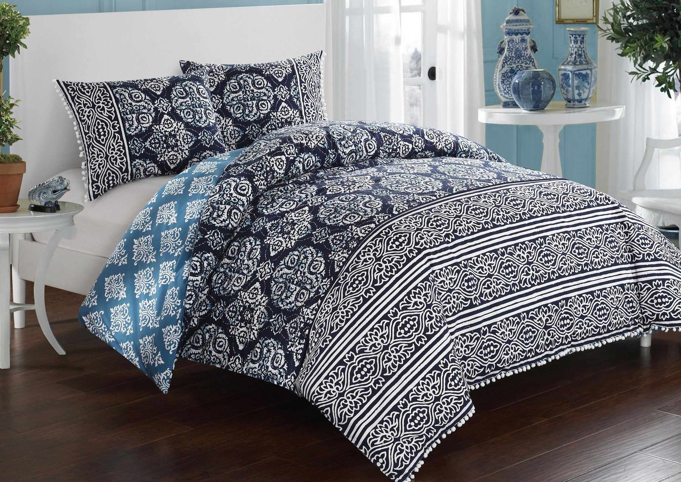flower product navy project duvets blue cover light medallion and duvet cottage