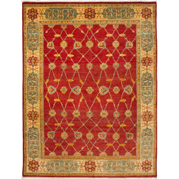 One-of-a-Kind Alarice Hand-Knotted Wool Red/Gold Area Rug by Isabelline