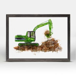 Drew Construction Vehicles Excavator Mini Framed Canvas Art by Zoomie Kids