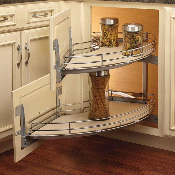Curve Two-Tier Right-Handed Blind Corner Organizer by Rev-A-Shelf