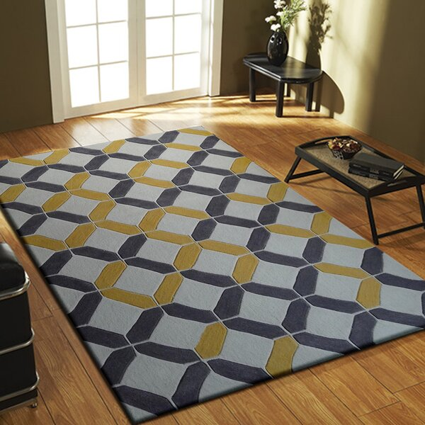 Heacock Transitional Hand-Tufted Charcoal/Yellow Area Rug by Brayden Studio