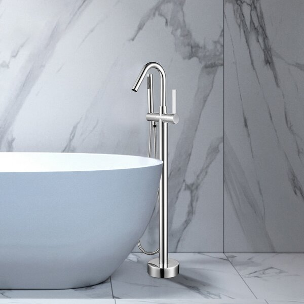 Single Handle Floor Mounted Freestanding Tub Filler With Handshower By Vanity Art