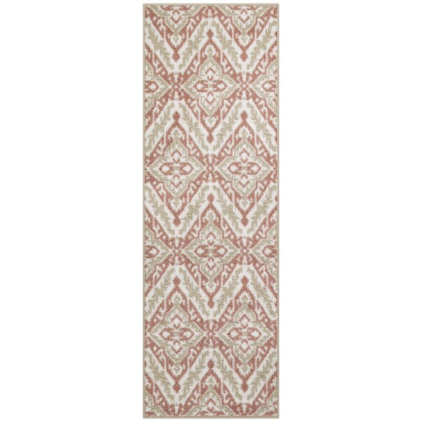 Pinar Coral/Tan Area Rug by Bungalow Rose