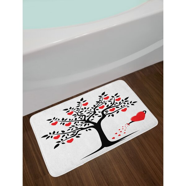 Valentines Day Love Themed Tree with Heart Romance Fruits Leaves Forest Couple Art Non-Slip Plush Bath Rug by East Urban Home