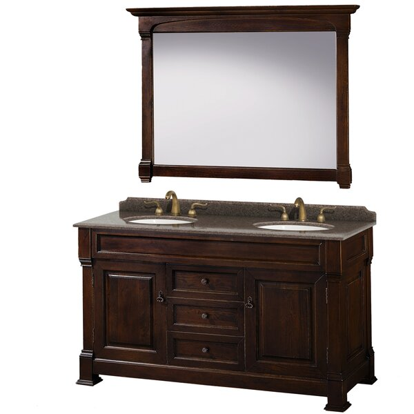 Andover 60 Double Dark Cherry Bathroom Vanity Set with Mirror by Wyndham Collection