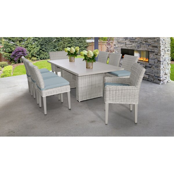 Claire 9 Piece Dining Set with Cushions by Rosecliff Heights