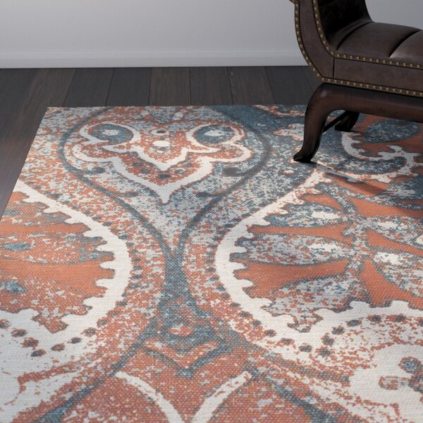 Joshawn Hand-Loomed Orange/Blue Area Rug by Bloomsbury Market