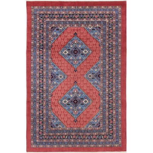 One-of-a-Kind Sarab Hand-Woven Red/Navy Area Rug by Bloomsbury Market