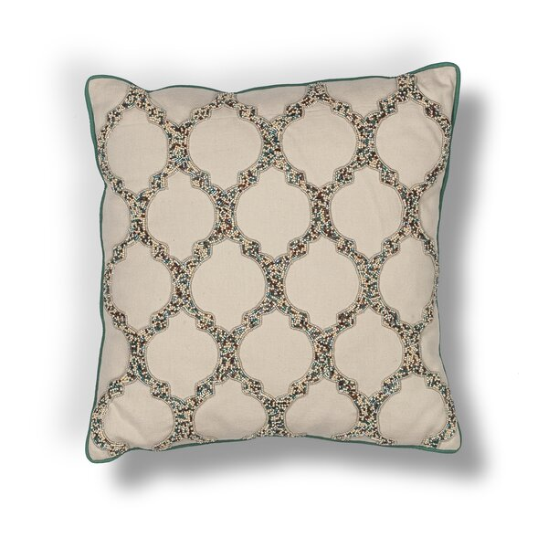 Forsyth Teal-Trefoil Cotton Beading Throw Pillow by Darby Home Co