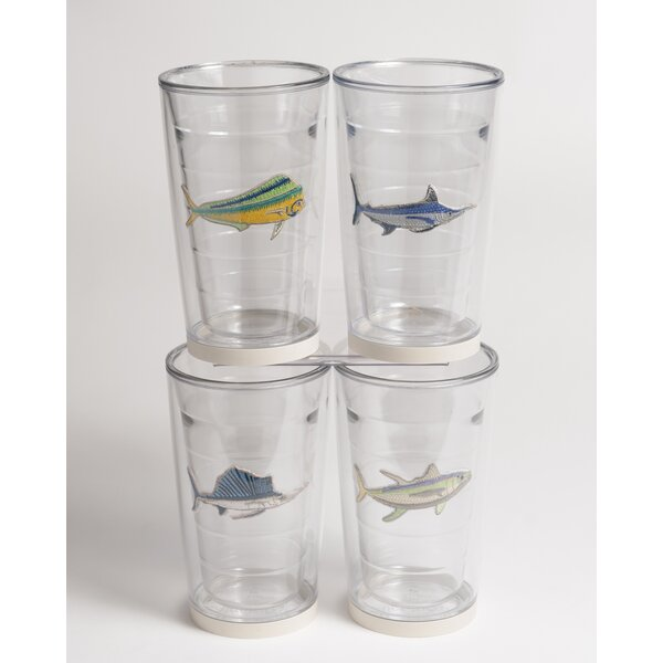 Newport Game Fish Non-skid 4 Piece 16 oz. Plastic Every Day Glass Set by Galleyware Company