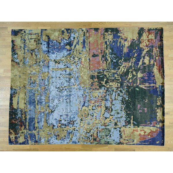 One-of-a-Kind Cohee Abstract Design Handwoven Wool/Silk Area Rug by Isabelline