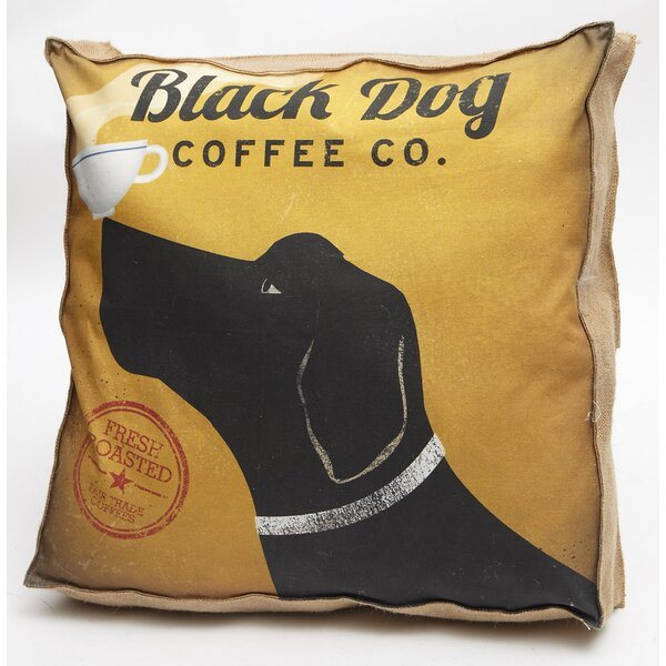 Black Dog Coffee Co Throw Pillow by Cape Craftsmen