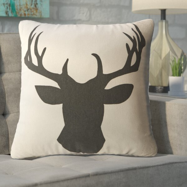 Travis Deerhead Feathered Throw Pillow by Union Rustic