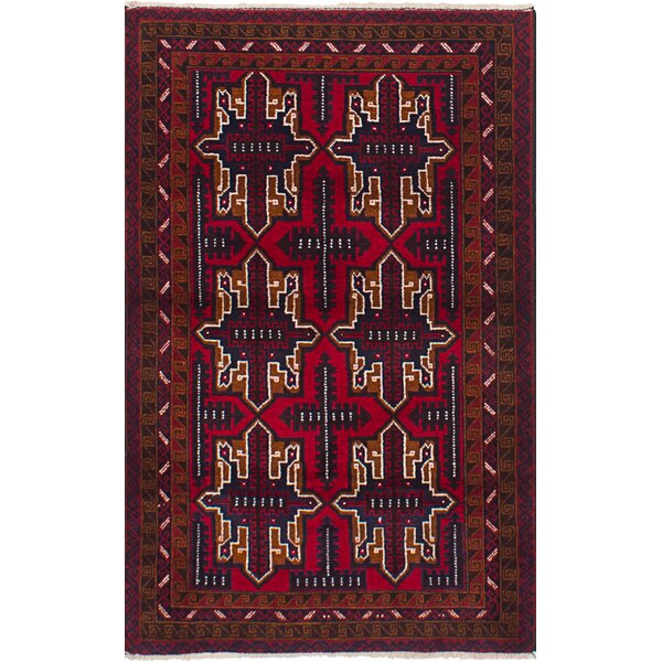 One-of-a-Kind Doan Hand-Knotted Wool Red Area Rug by Isabelline