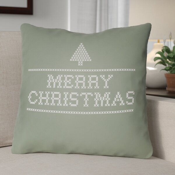 Merry Christmas III Indoor/Outdoor Throw Pillow by The Holiday Aisle