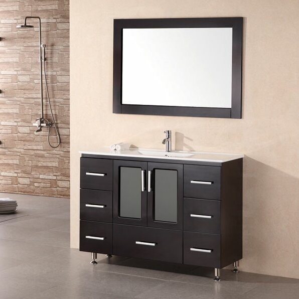 Pratt 48 Single Modern Bathroom Vanity Set with Mirror by dCOR design