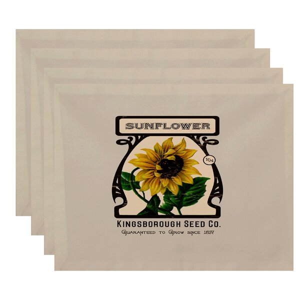 Swan Valley Sunflower Floral Print Placemat (Set of 4) by August Grove
