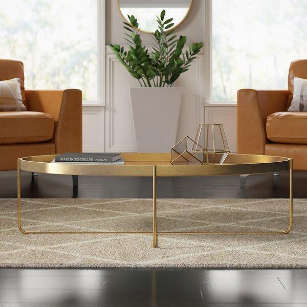 Massenburg Cross Legs Coffee Table with Tray Top by Mercury Row Mercury Row
