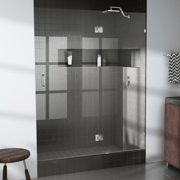 53.75 x 78 Hinged Frameless Shower Door by Glass Warehouse