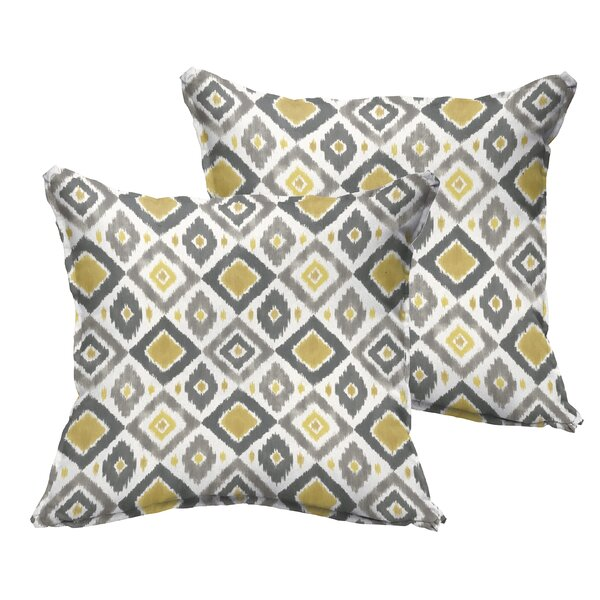 Socoma Flange Indoor/Outdoor Throw Pillow (Set of 2) by Bungalow Rose