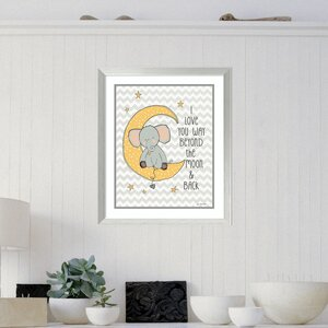 To the Moon Elephant Framed Art