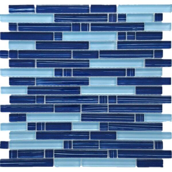 Stripe Brick Random Sized Glass Mosaic Tile in Blue by Multile