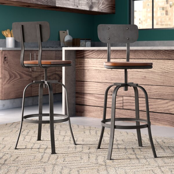 Garon Adjustable Height Swivel Bar Stool (Set of 2
