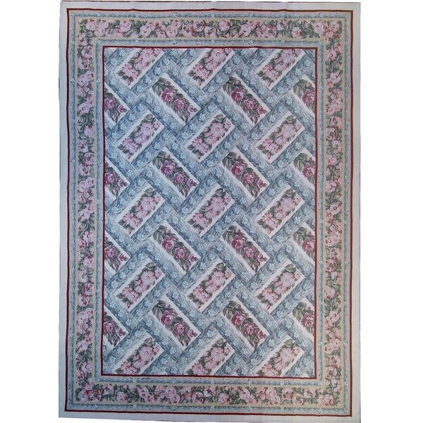 Aubusson Hand-Woven Wool Pink/Blue Area Rug by Pasargad