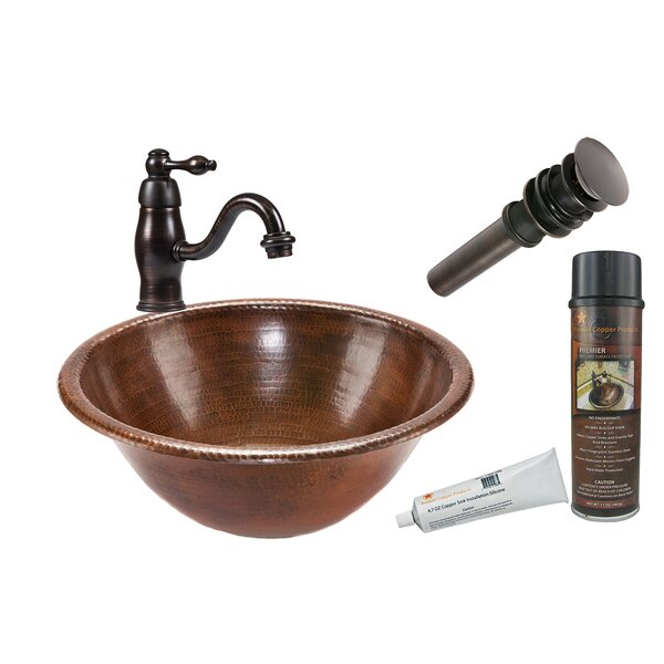 Metal Circular Drop-In Bathroom Sink with Faucet by Premier Copper Products
