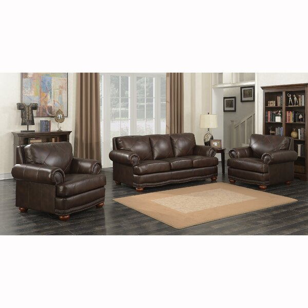Wakerobin 3 Piece Leather Living Room Set by Canora Grey