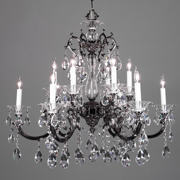 Via Lombardi 12-Light Candle Style Tiered Chandelier By Classic Lighting