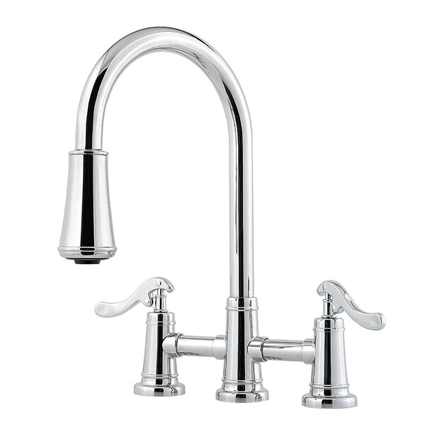 Ashfield 3-Hole Bridge Pull Down Double Handle Kitchen Faucet by Pfister