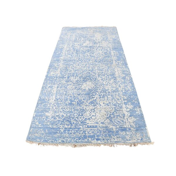 One-of-a-Kind Escudero Broken Persian and Pure Oriental Hand-Knotted Silk Blue Area Rug by World Menagerie