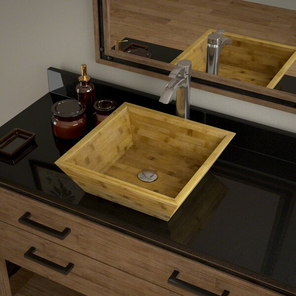 Bamboo Square Vessel Bathroom Sink with Faucet by MR Direct