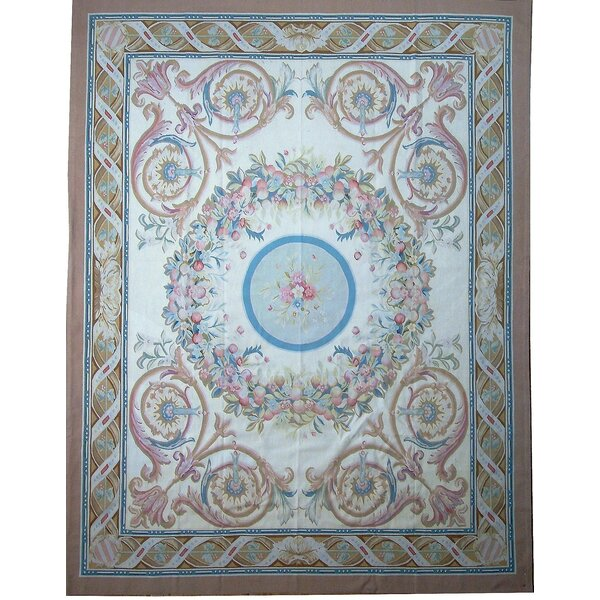 One-of-a-Kind Aubusson Hand Woven Wool Brown/Red/Blue Area Rug by Pasargad