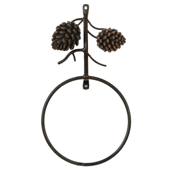 Woodland River Country Pinecone Wall Mounted Towel Ring by DEI