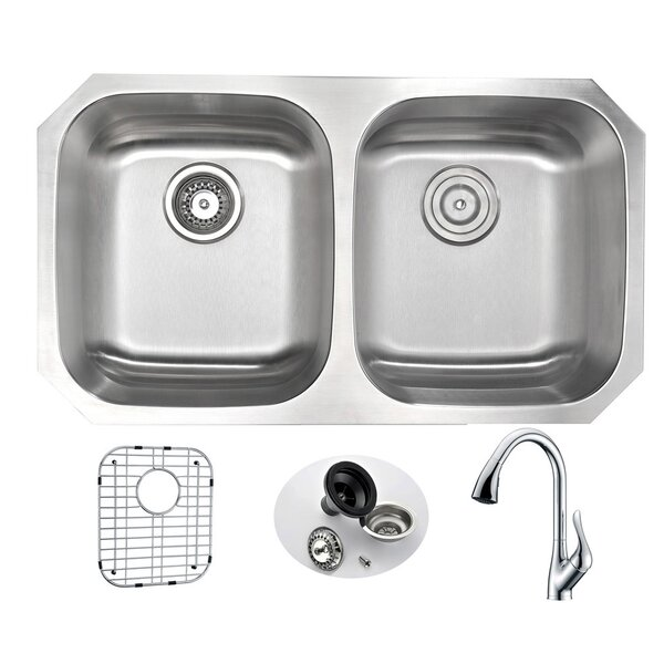 Moore 32.25 L x 18.5 W Double Bowl Undermount Kitchen Sink with Faucet and Drain Assembly by ANZZI