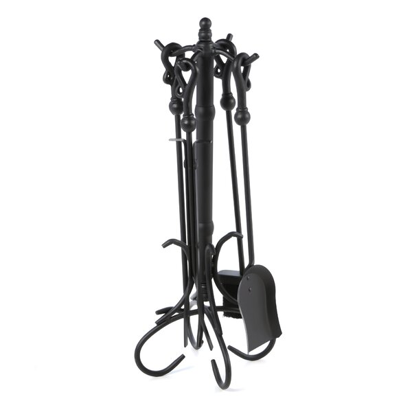 5 Piece Heavy Crook Handle Wrought Iron Fire Tool Set With Stand By Uniflame