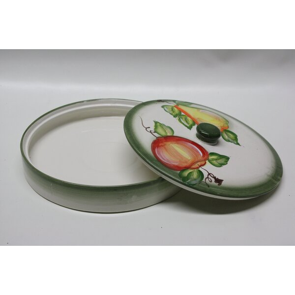 Round Ceramic Pita Bread Serving Tray with Lid by Desti Design