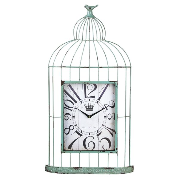 Metal and Wood Bird Cage Wall Clock by Cape Craftsmen
