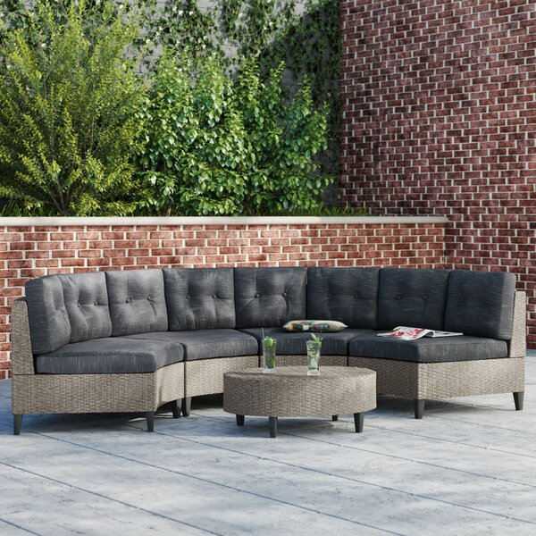 Yulganna 5 Piece Rattan Sectional Seating Group with Cushions by Brayden Studio