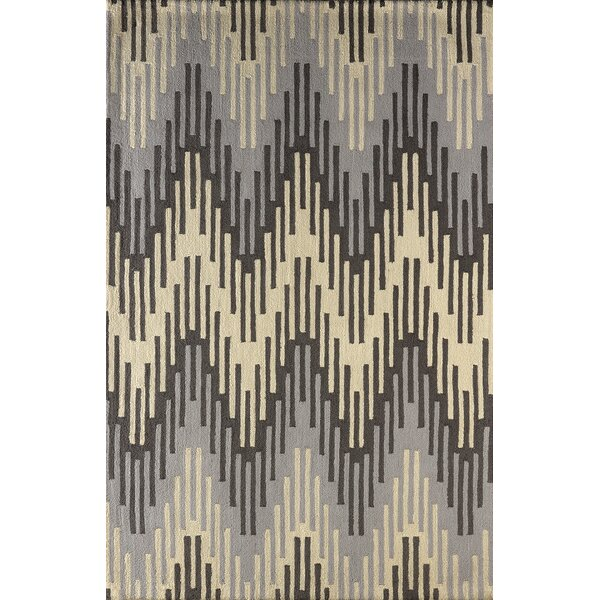 Flanary Hand-Tufted Wool Frost Gray/Ivory Area Rug by Bloomsbury Market