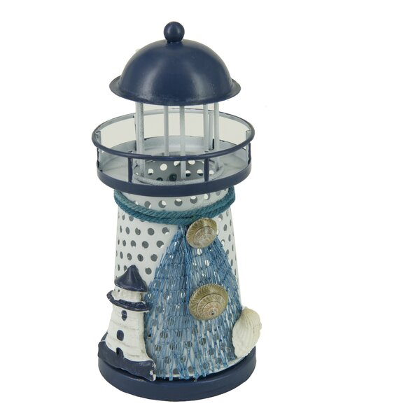 Nautical Anchor Metal Vintage Openwork Ocean Lighthouse Color Changing LED Lantern Night Light by Attraction Design Home